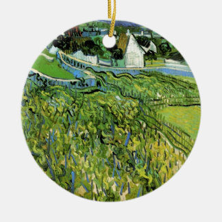 Van Gogh Vineyards with Auvers, Vintage Fine Art Round Ceramic Decoration