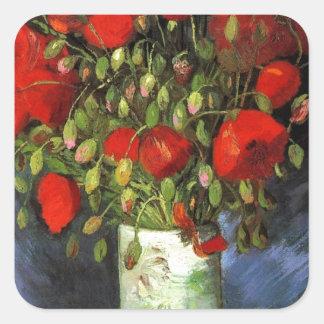 Van Gogh Vintage Painting Blossoms Vase Flowers Square Sticker