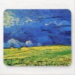 Van Gogh; Wheat Field Under Clouded Sky Mousepad