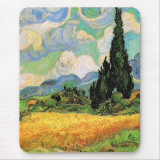 Van Gogh Wheat Field w Cypresses at Haute Galline Mousepad