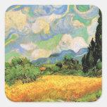 Van Gogh; Wheat Field w Cypresses at Haute Galline Square Stickers