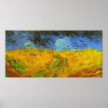 Van Gogh Wheat Field with Crows Vintage Farm Birds Poster
