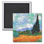 Van Gogh Wheat Field with Cypresses (F615) Square Magnet