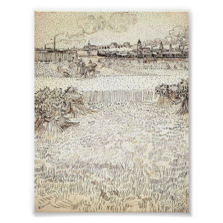Van Gogh - Wheat Field with Sheaves and Arles Poster