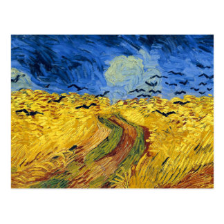 Van gogh wheat fields famous painting postcard