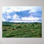 Van Gogh; Wheat Fields with Stacks, Vintage Farm