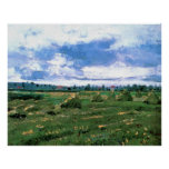 Van Gogh Wheat Fields with Stacks, Vintage Farm Poster