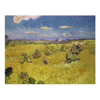 van gogh wheat stacks with reaper postcard