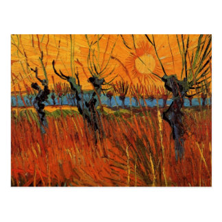 Van Gogh Willows at Sunset, Vintage Impressionism Postcard