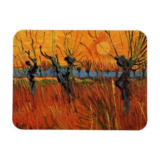 Van Gogh Willows at Sunset, Vintage Impressionism Rectangular Photo Magnet