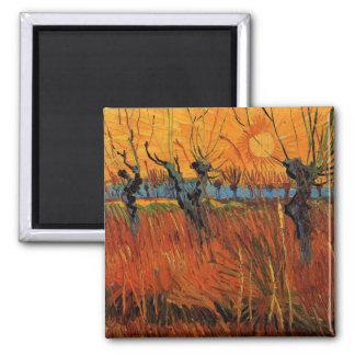 Van Gogh Willows at Sunset, Vintage Impressionism Square Magnet