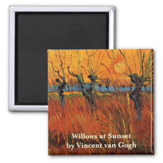 Van Gogh Willows at Sunset, Vintage Impressionism Square Magnet