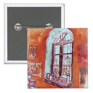 Van Gogh Window of Vincent's Studio at the Asylum 15 Cm Square Badge
