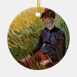 Van Gogh; Woman Sitting in Grass, Vintage Fine Art Round Ceramic Decoration