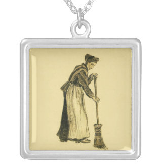 Van Gogh Woman with a Broom Fine Art Square Pendant Necklace