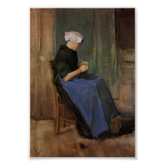Van Gogh - Young woman knitting Poster