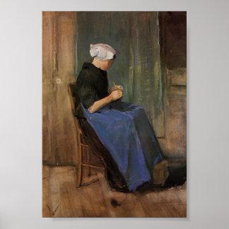Van Gogh - Young woman knitting Posters