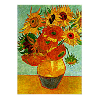 Van Gogh's beloved Sunflowers (12) Poster