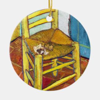 Van Gogh's Chair  Vincent van Gogh  fine art Double-Sided Ceramic Round Christmas Ornament