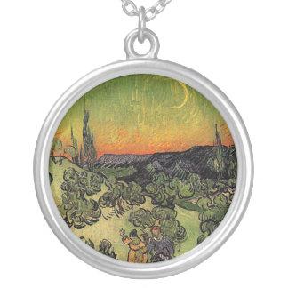 Van Gogh's 'Landscape w/ Couple Walking' Necklace Round Pendant Necklace