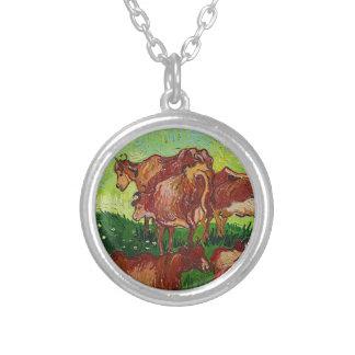 Van Gogh's 'Les Vaches' Necklace Round Pendant Necklace