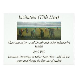Van Gogh's Peasants or Farmers Planting Potatoes 14 Cm X 19 Cm Invitation Card