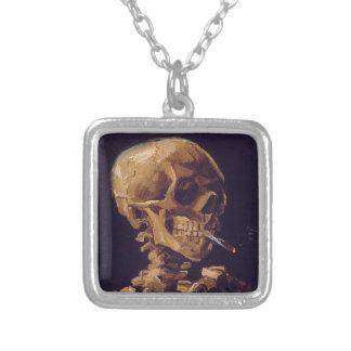 Van Gogh's 'Skull w/ a Burning Cigarette' Necklace Square Pendant Necklace