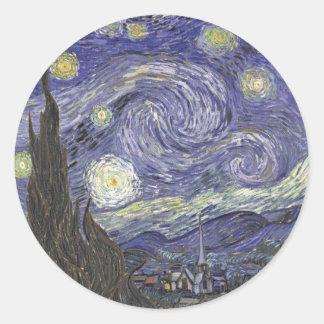 Van Gogh's Starry Night Classic Painting Round Sticker