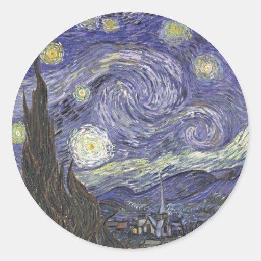 Van Gogh's Starry Night Classic Painting Round Stickers