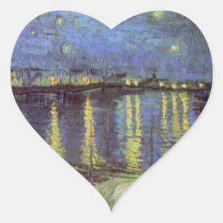 Van Gogh's Starry Night Painting Heart Sticker