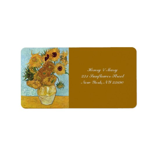Van Gogh's Sunflowers Label