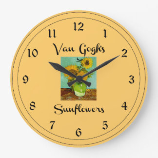 Van Gogh's Sunflowers Large Clock