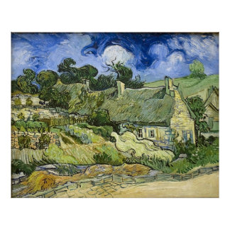 Van Gogh's Thatched Cottages at Cordeville (1890) Poster