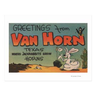 Van Horn, Texas (Jackrabbit & Crow) Postcard