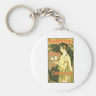 Van Houten's Cacao en Chocolade 1899 Basic Round Button Key Ring