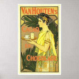 Van Houten's Cacao en Chocolade 1899 Poster