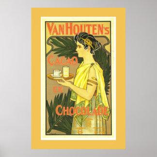 Van Houten's Cacao en Chocolade Vintage Poster