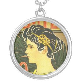 Van Houten's Chocolade Art Nouveau Round Pendant Necklace