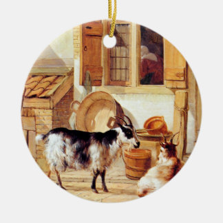 Van Strij: Two Goats in a Yard, Round Ceramic Decoration
