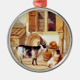 Van Strij: Two Goats in a Yard, Silver-Colored Round Decoration
