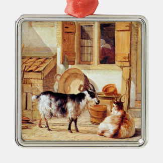 Van Strij: Two Goats in a Yard, Silver-Colored Square Decoration