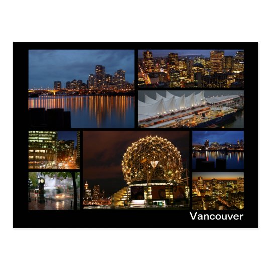 Vancouver at night multi-image postcard