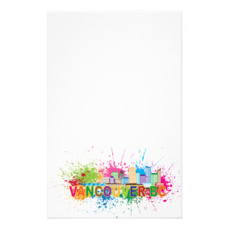 Vancouver BC Skyline Paint Splatter Illustration Custom Stationery