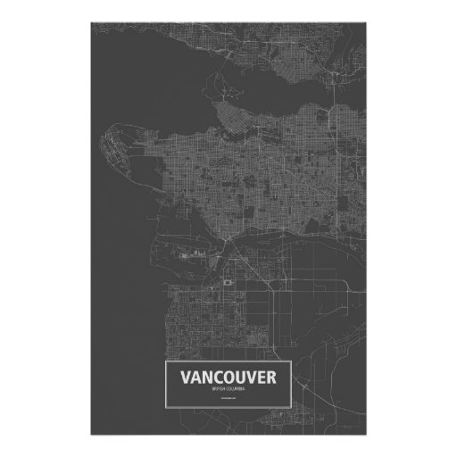 Vancouver, British Columbia (white on black) Poster