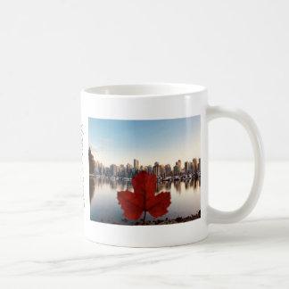 Vancouver Canada Red Maple Leaf Skyline Coffee Mug