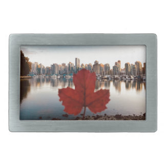 Vancouver Canada Red Maple Leaf Skyline Rectangular Belt Buckle