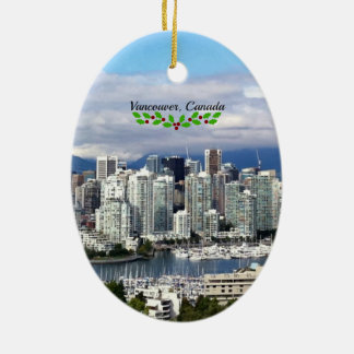 Vancouver, Canada Skyline with Christmas Holly Christmas Ornament