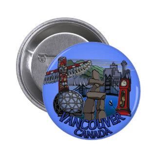 Vancouver Canada Souvenir Buttons Landmark Art