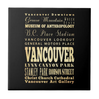 Vancouver City of Canada Typography Art Tile