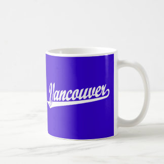 Vancouver script logo in white coffee mug